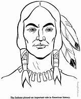 Native Coloring Indian Printable History Sheets Americans Patriotic Printing sketch template