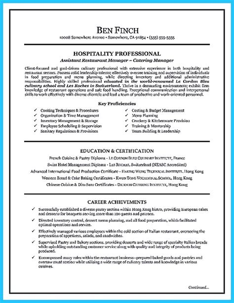 culinary resume exles exles of resumes