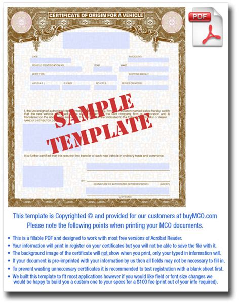 downloadable mco template buy manufacturer certificate
