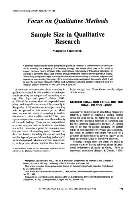 sample size  qualitative research margarete sandelowski