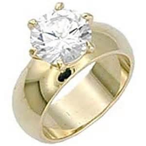 gold cubic zirconia engagement rings solitaire wide band engagement ring yellow gold ep 4 5 ct cubic zirconia ebay