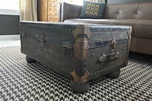 Table Basse Malle : une vieille malle de voyage transform e en table basse ~ Melissatoandfro.com Idées de Décoration