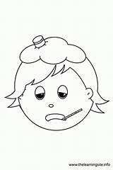 Sick Coloring Child Clipart Ill Feelings Outline Worksheet Animal Popular Library Template sketch template