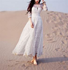 Robe Blanche Longue Boheme : robe longue boheme dentelle organza mariage boho boheme chic ~ Preciouscoupons.com Idées de Décoration