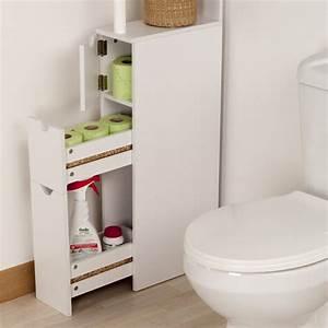 Rangements Salle De Bain : meuble de rangement wc toilettes ou salle de bain blanc ~ Nature-et-papiers.com Idées de Décoration