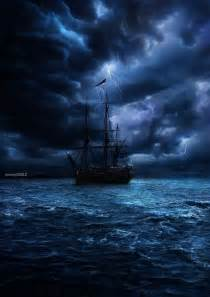 Storm Clouds and a Pirate Ship at Sea