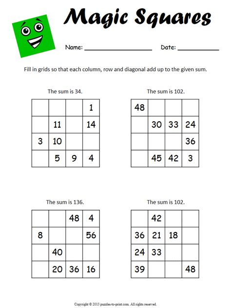 magic square worksheets
