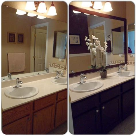 spray stain cabinets bathroom remodel framed mirror with mdf trim then