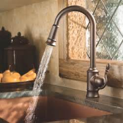 kitchen faucet rubbed bronze moen s7208orb woodmere one handle high arc pulldown kitchen faucet featuring reflex rubbed