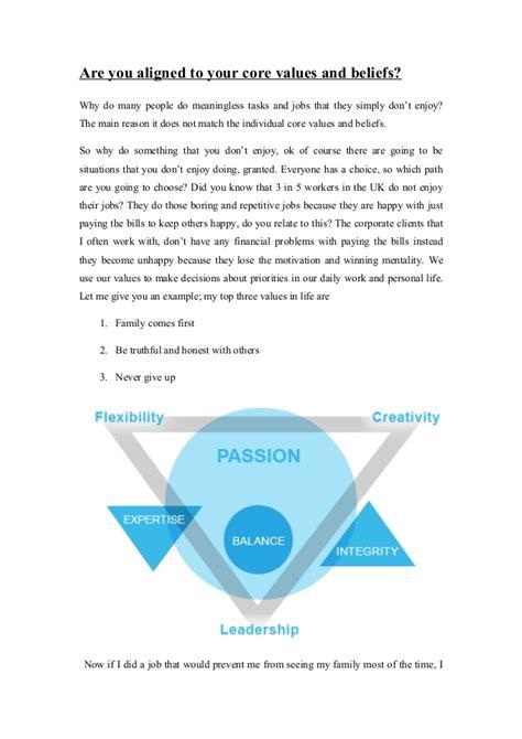 core values beliefs