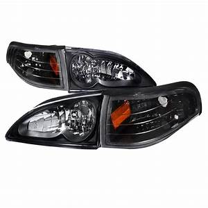 1994-1998 Ford Mustang Black Euro Headlights-2LCLH-MST94JM-RS