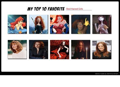 Red Hair Girl Meme - my top 10 favorite red haired girls meme by normanjokerwise on deviantart