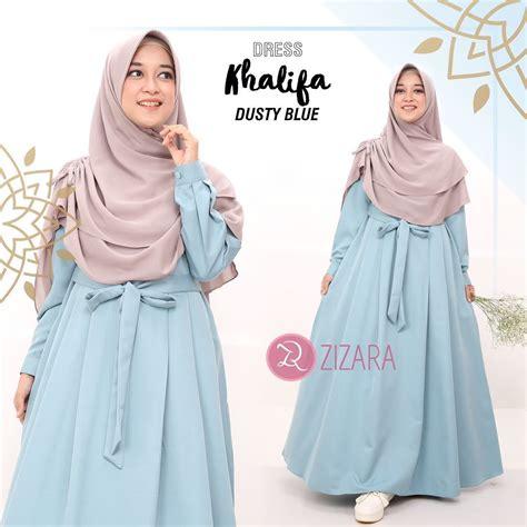 gamis zizara khalifa dusty blue baju muslimah muslim kini hadir untukmu yang