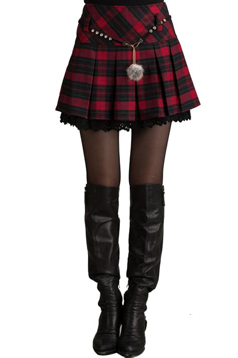 Plaid Pleated Skirt Womens  Dress Ala