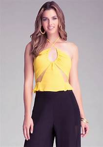 New Bebe Womens Yellow Cropped Mesh Peplum Top  B15  Sz M