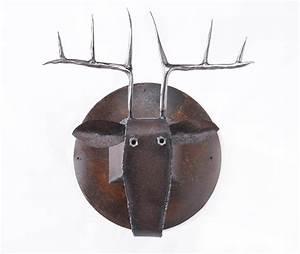Wall sculpture deer head art metal mounted animal