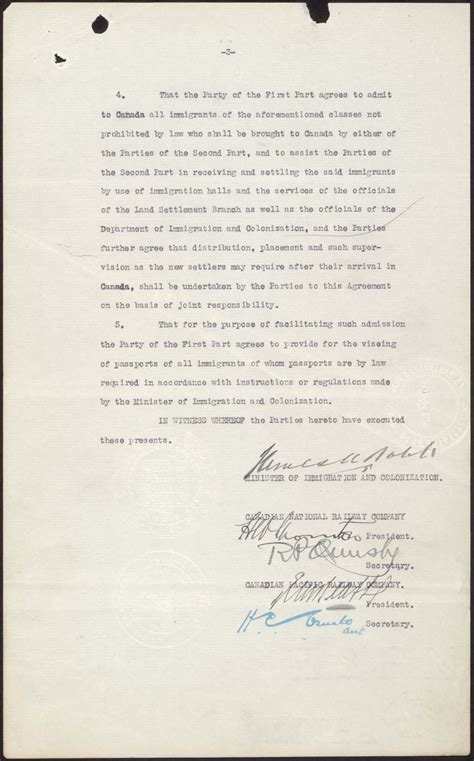 bureau immigration canada railway agreement 1925 pier 21