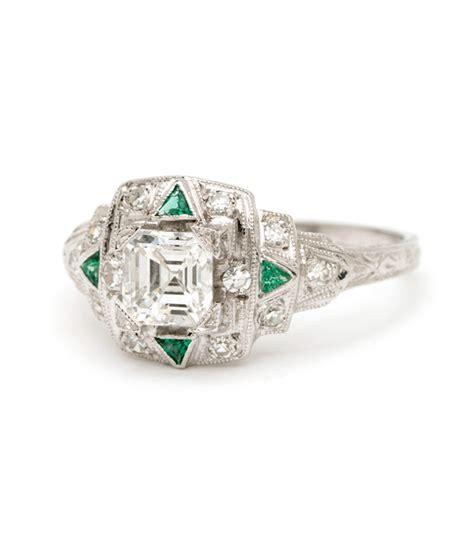 deco estella platinum vintage engagement ring