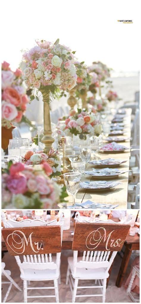 Beachside wedding reception table California Weddings