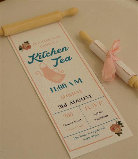 25 Kitchen Tea invitation rolling pin Bridal Shower invite