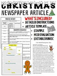 christmas writing activity newspaper article creative student and christmas writing