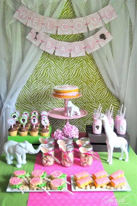 pink green safari baby shower baby shower ideas
