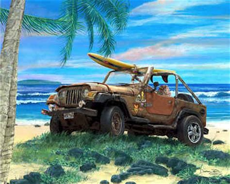 beach jeep surf surf art wrangler jeep under palm trees rusty rusted