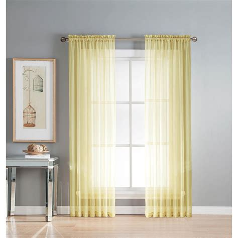 yellow sheer curtains window elements sheer sheer yellow rod pocket