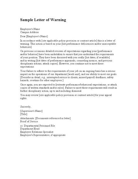 staff warning letter sample letters  sample letters