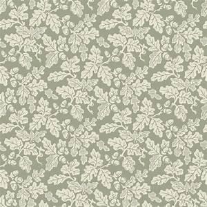 Leaf design wallpaper : Oak leaf wallpaper cream on sage green design