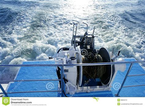 Big Boat Rope by Big Winch Winding A Steel Cable Stock Image
