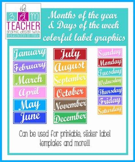 months   year days   week colorful clipart