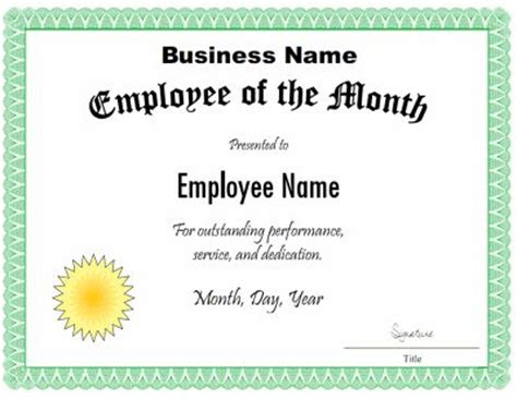 employee   month certificate template customize