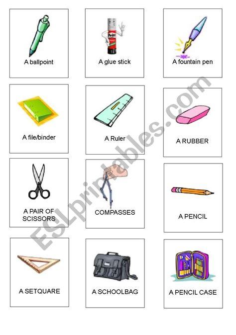 school things cards 1 esl worksheet by emy90