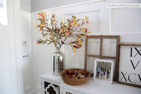 pottery barn fall decor mirrored console table ready for fall the side