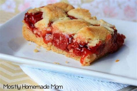 easy cherry pie sugar cookie bars  homemade mom