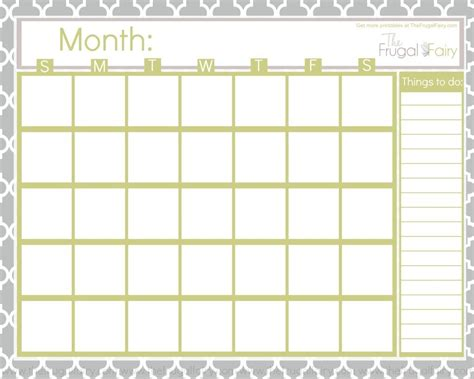 blank printable calendar  images monthly