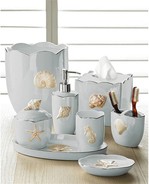 coastal bathroom decor shells seafoam bath accessories set coastal style