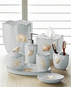 marie shells seafoam bath accessories set coastal style With beachy bathroom accessories