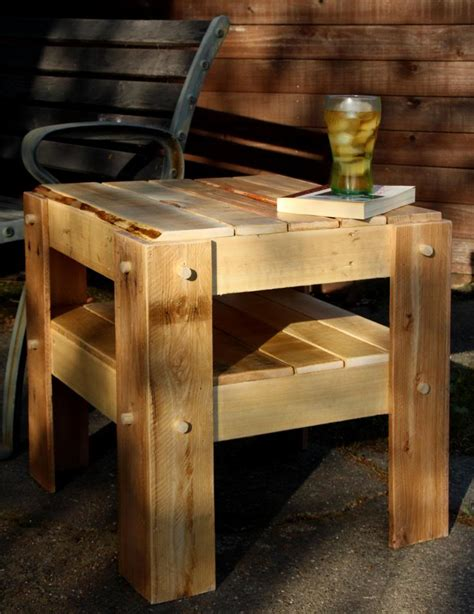 rustic side table   pallet wood woodworking