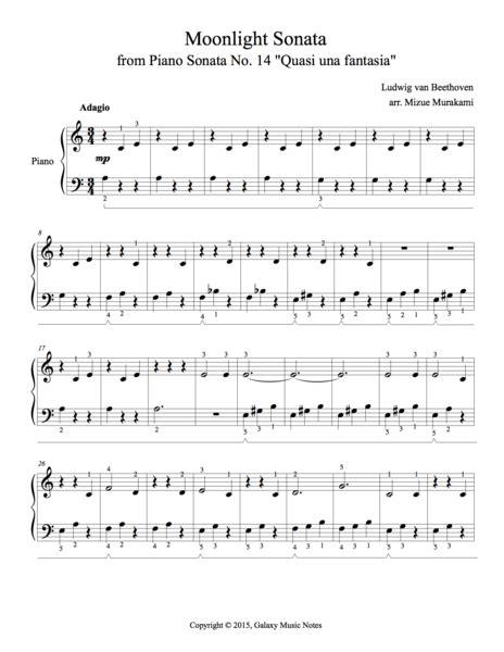 Moon Light Sonata by Moonlight Sonata Easy Piano Sheet