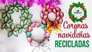 Coronas navideñas reciclando rollos de papel higiénico