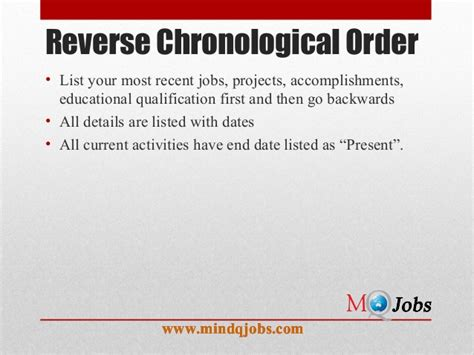 Chronological Resume Overlapping Dates by Mindqjobs Resume Structure And Covering Letter