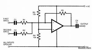 two channel audio mixer power supply circuit circuit With basic audio mixer using op amp
