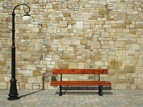 mur de briques avec r 233 verb 232 re et banc photographie