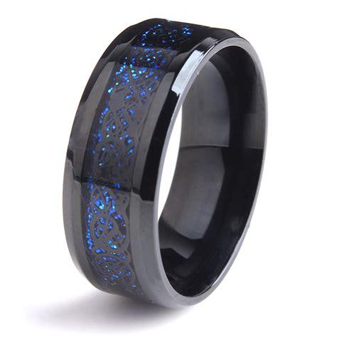 aliexpress com buy 8mm black dragon blue carbon fiber wedding rings for women 316l stainless