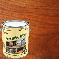 Preserva Wood 1 gal. Oil-Based Redwood Penetrating Stain and Sealer, Red, Red