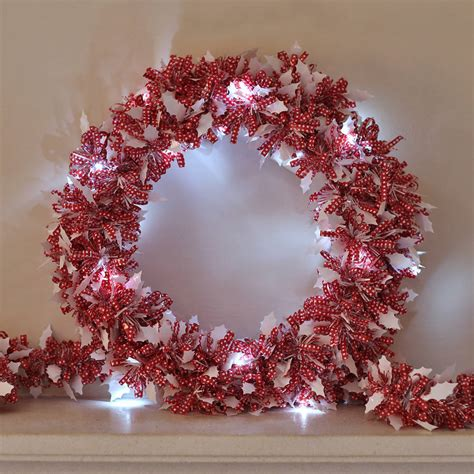 tinsel christmas wreath with led lights by ella james notonthehighstreet com