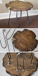 Rustic, Stool, With, Hairpin, Legs