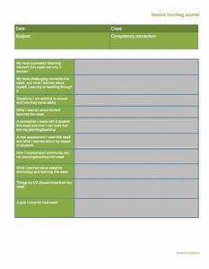 weekly reflection journal template for student teachers With teacher diary template